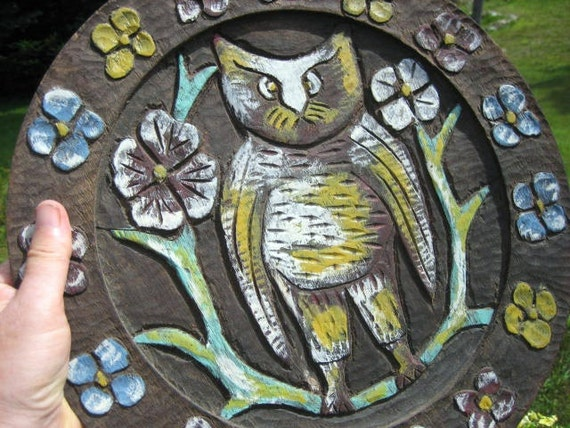 Maine Folk Art  Carved Owl Cat Wall Plaque OOAK Round Wood Signed