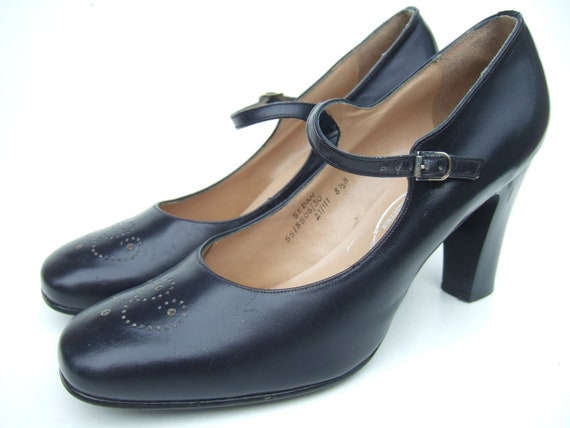 Navy Mary Jane Court Shoes