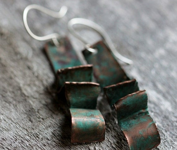 Copper & Sterling Fold-Formed Earrings, Rustic, Sculptural, Mixed Metals, Verdigris Patina