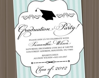 Graduation Party Invitation (PRINTABLE FILE), Customize Your Colors