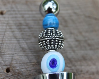 Stainless Steel Wine Stopper with Glass Evil Eye Bead, Kitchen Accessory, Hostess Gift
