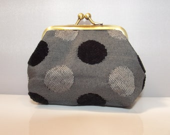Small Coin Purse, polka dots, grey and black, framed