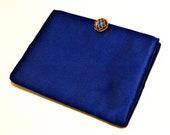 50s 60s Coblentz Original Satin Evening Clutch Blue Gold Handbag Purse Pocketbook Brass 1950s 1960s Mad Men Betty Draper Fall Fashion