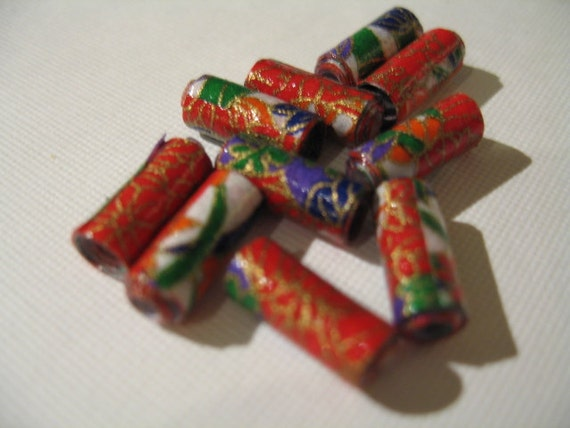 Red/Orange Origami Inspiration Rolled Paper Beads