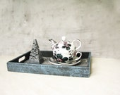 Titanium  Black and white gothic victorian wooden breakfast tray with ornamented, rustic style homewares