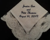 Bridal Wedding Handkerchief Embroidered and Personalized for the Bride