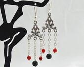 Coral, Obsidian and Antique Silver Chandelier Earrings, Drop Earrings, Dangle Earrings, Chain, Red, Black