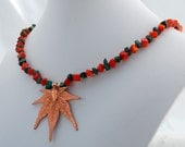 Copper Maple Leaf with Malachite and Coral Statement Necklace