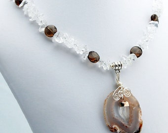 Agate Druzy Slice Rock Crystal Point Smoky Quartz Pendant Necklace, Beaded Natural Stone Jewelry