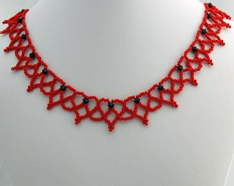 Red Heart Seed Bead Lace Necklace