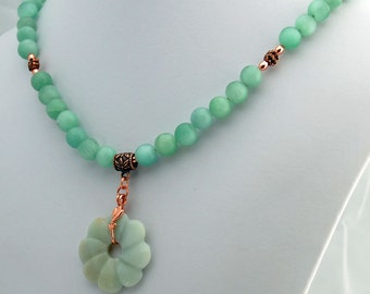 Amazonite & Copper  Pendant Statement Necklace