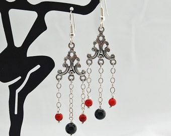 Coral, Obsidian Natural Stone Antique Silver Chandelier Earrings