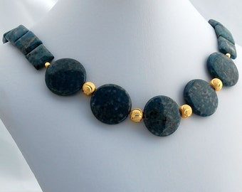 Teal and Gold Statement Necklace, Stone Statement Necklace