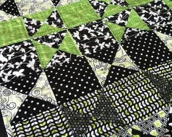 Lime, Black, and White Child-size Quilt