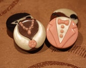 One Dozen Chocolate or Vanilla covered oreos - Wedding Flower Bride and Groom