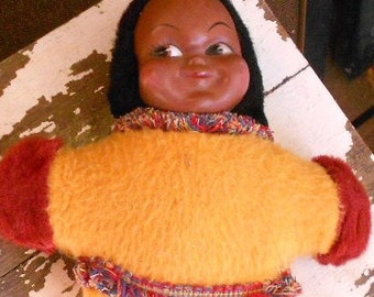 "VINTAGE CLOTH DOLL, Eskimo, native, Canadian, hand painted, 11"" tall, soft stuffing, great color"