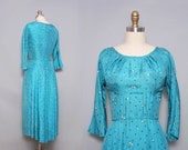 1950s Cocktail Dress / Vintage 50s Party Dress / Robins Egg Blue / Small Medium