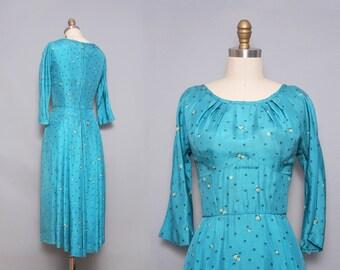 1950s Cocktail Dress. Silk Dress. Polka Dot Dress. Vintage Party Dress. Robins Egg Blue. 50s Evening Dress. Blue Evening Dress. Small Medium