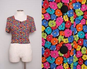 90s Floral Top. Colorful Blouse. Vintage 90s Grunge Top. Button Up Summer Top. Festival Top. Button Down Top. 90s Club Kid. Medium Large