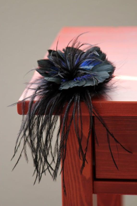 Feather Fascinator Head Piece Hair Clip , Feather Flowers MIDNIGHT BLUE MAGIC