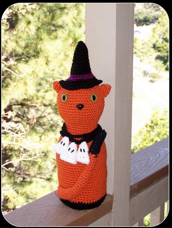 Amigurumi Black Cat Door Stopper : Items similar to Crochet Halloween Witch Cat door stop,art ...