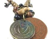 Vintage Style  Metal wood beads pendant adjustable women girl necklace Vintage necklace B121