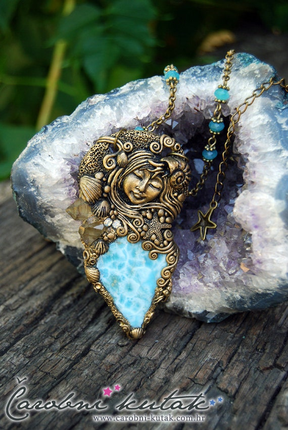 Princess Mermaid Larimar  gemstone necklace