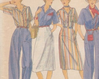 1970s Separates Vintage Pattern, Butterick 5274, Darted Straight Skirt, Wide Leg Pants, Oversized Camp Shirt