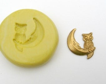 OWL on Moon Jewelry Charm mold non-toxic flexible silicone push mold / mould  for FIMO, resin, wax, kawaii