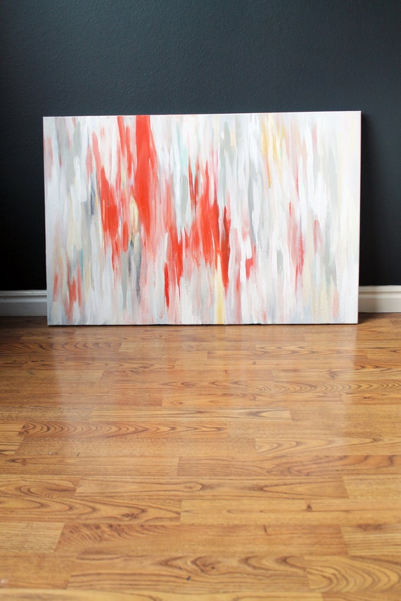 36x24 Ikat-inspired Abstract Original Painting featuring Tangerine Tango and muted accents