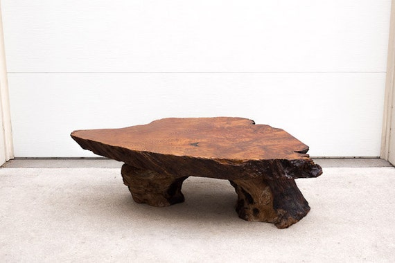 SOLD Vintage Mid Century Solid Wood Live Edge Coffee Table