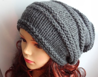 Knit Hat Slouchy women men GRAY or ANY COLOR hat Men Women Knit Slouchy Beanie Knit Hat Chunky Knit Winter Fall Accessories Slouchy Knitted