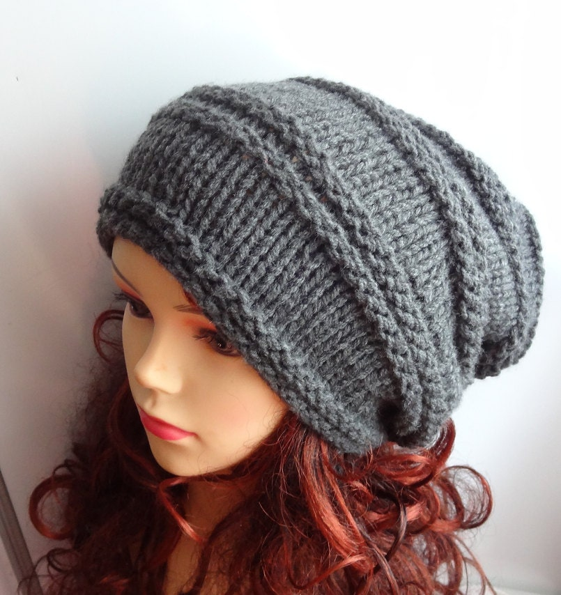 Mens Slouchy Beanie Knitting Pattern : Knit Hat Slouchy women men GRAY or ANY COLOR hat Men Women Etsy