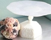 Milk Glass Cake Stand / Vintage Wedding Cake Stand Pedestal / White Cake Pedestal Stand / Cake Platter Dish / Cupcake Stand Dessert Pedestal