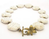 White Stone Necklace, Magnesite Beads, Flower Toggle