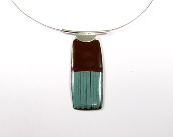 Enamelled Pendant, Modern, Contemporary, Chocolate , Turquoise, Geometric, Colorful, Sterling, Enamel, Copper