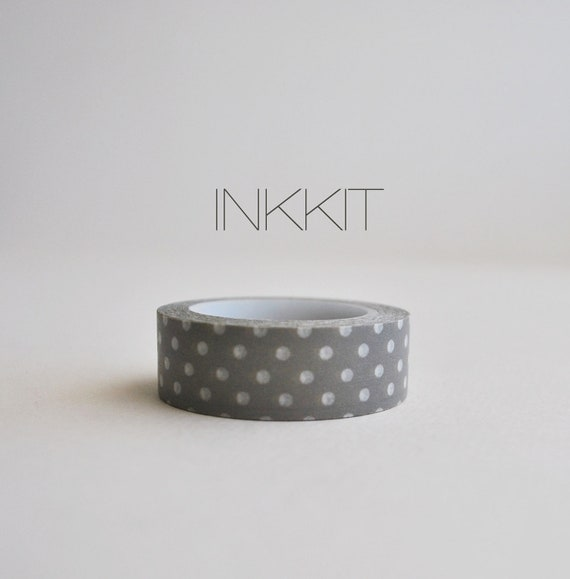 washi tape- gray with white dots
