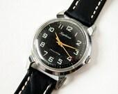 Vintage mens watch Kirovskie, rare wristwatch, black dial, Soviet Era