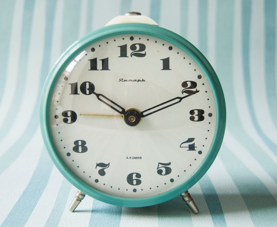 Soviet mechanical alarm clock, turquoise color