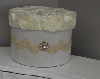 Ivory Card Box-Brooch, lace, duponi silk and rosette satin lid, round card holder