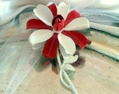 Weiss Enamel Flower Brooch - Crisp Red and White Layered Petal - Vintage Beauty