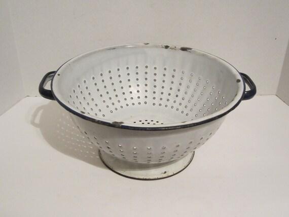 Vintage White Enamelware Colander