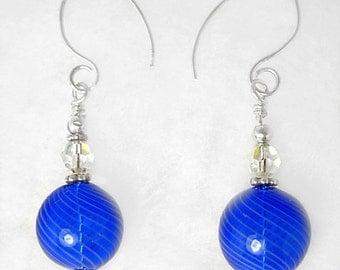 Cobalt Blue & Sterling Silver Earrings with Swarovski Crystals, Handmade Silver Earwires