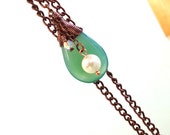 Wired wrapped teardrop agate necklace / Fashion necklace / Agate teardrop necklace