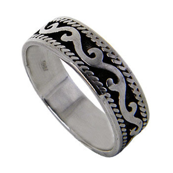 Filigree Band Ring, Sterling Silver Ring, Women Ring,Thick  Band Sterling Ring, Wide Band Ring, Oxidized Band Ring (OP 582 )