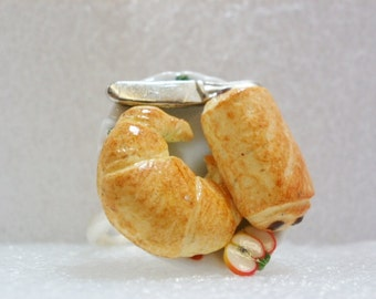 Croissant Ring. Polymer Clay.