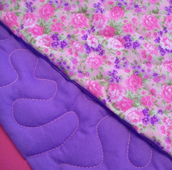 On Reserve for TEE - PINK & PURPLE Kids Cotton Floral Fabric Quilt - Starter Quilt - Yours to Embellish or Monogram
