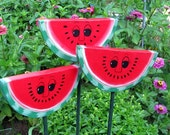 Watermelon -Double Sided Wooden Garden Personality Plant Marker -Gift for the gardener