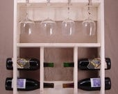 Wine Rack with Wine Glass Holder - Wall Hanging