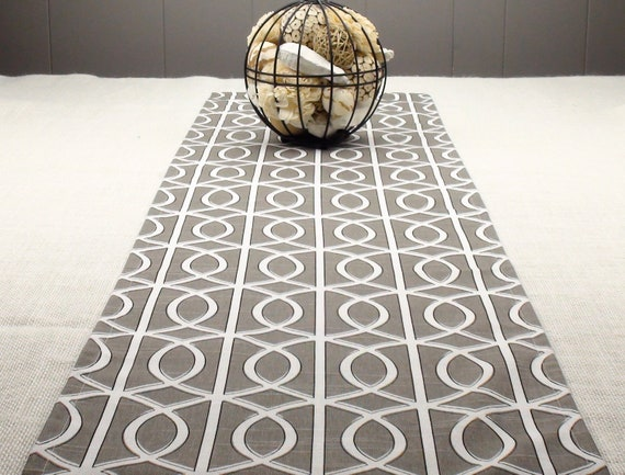 Modern Table Runner Charcoal Grey And White By Thefabricaffair